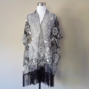 Black and White Shawl Polyester